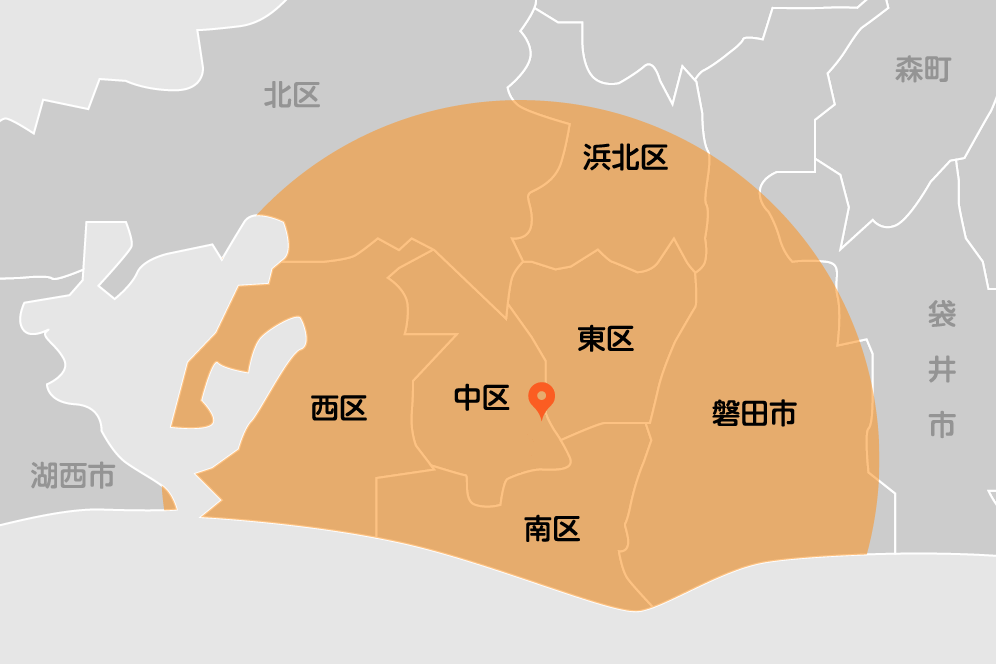 当院から半径16kmが訪問診療可能エリアとなります。